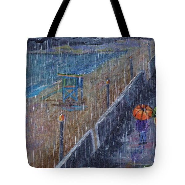 Tote Bag featuring the painting Hermosa Beach Rain by Jamie Frier