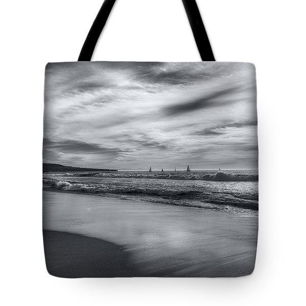 Tote Bag featuring the photograph Hermosa Evening Black And White by Michael Hope