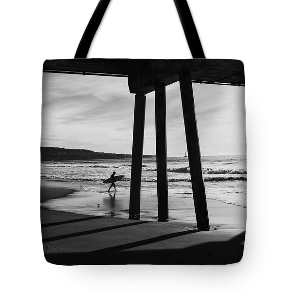 Tote Bag featuring the photograph Hermosa Surfer Under Pier by Michael Hope