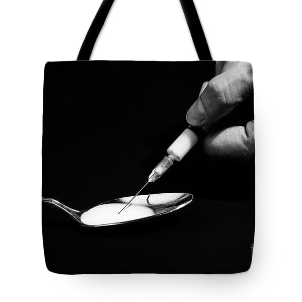 Tote Bag featuring the photograph Heroin Addiction by Benny Marty