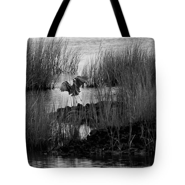 Heron And Grass In B/w Tote Bag