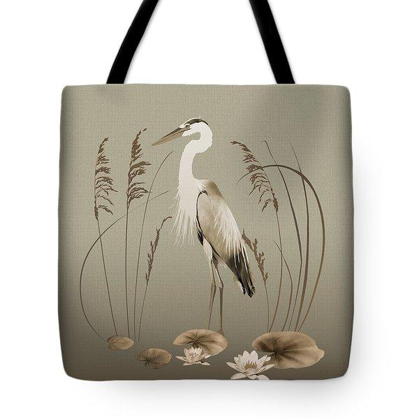 Heron And Lotus Flowers Tote Bag