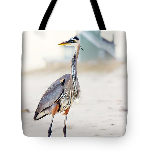 Heron And The Beach House Tote Bag