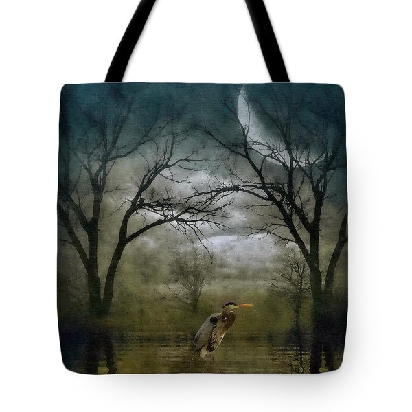 Heron By Moon Glow  Tote Bag by Andrea Kollo