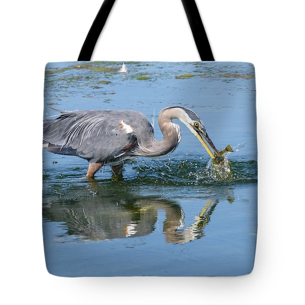 Great Blue Heron Catches A Fish Tote Bag