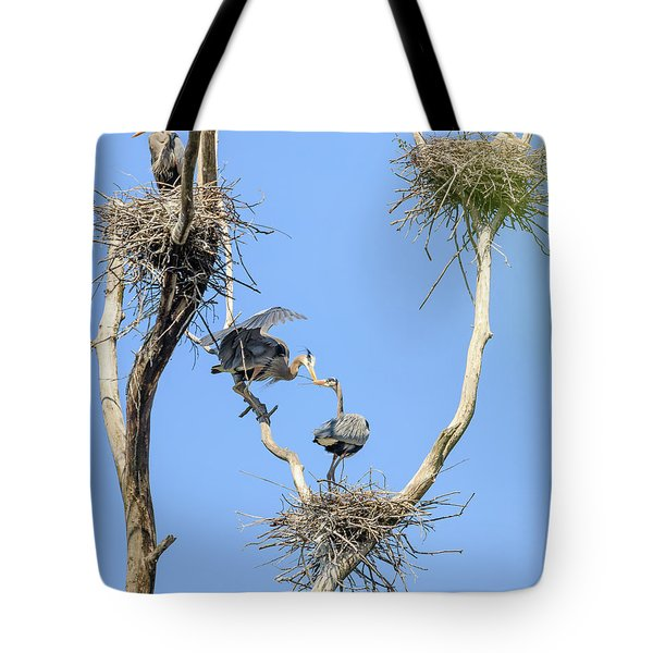 Heron Courting 2 Of 6 The Exchange Tote Bag