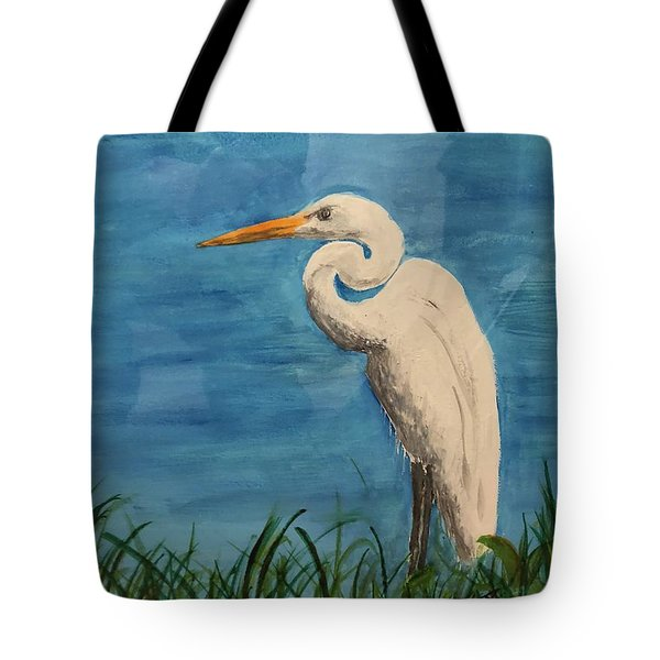 Tote Bag featuring the painting Heron by Donald Paczynski