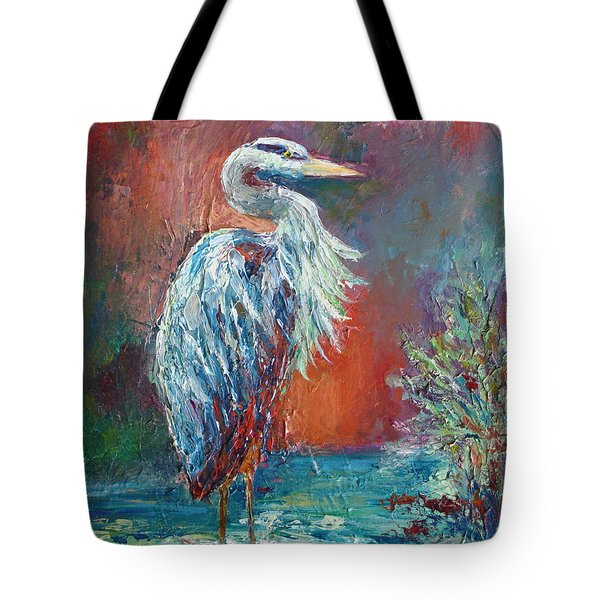 Tote Bag featuring the painting Heron In Color by Phyllis Howard