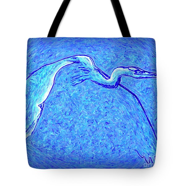 Tote Bag featuring the photograph Heron In Flight by Walt Foegelle