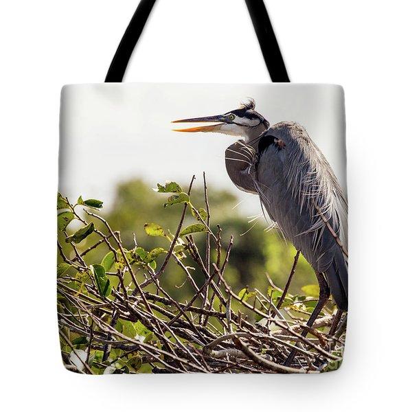 Heron In Nest Tote Bag