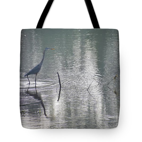 Tote Bag featuring the photograph Heron In Pastel Waters by Skip Willits