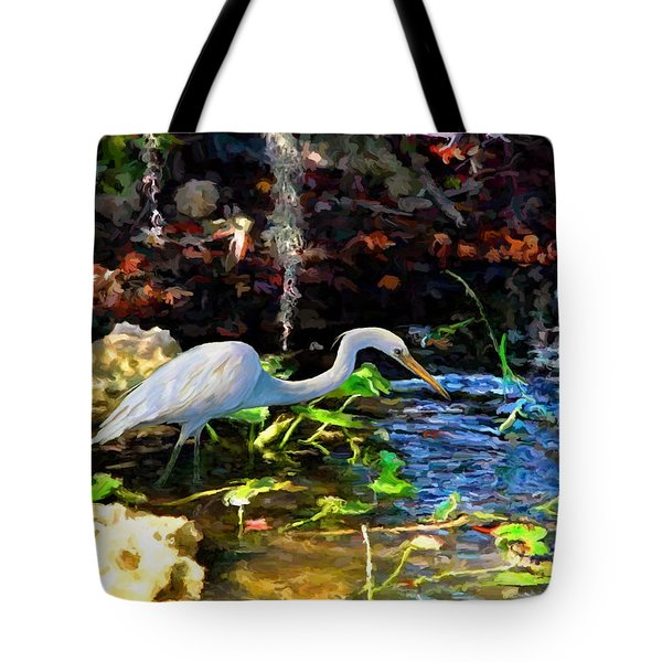 Tote Bag featuring the painting Heron In Quiet Pool by David  Van Hulst