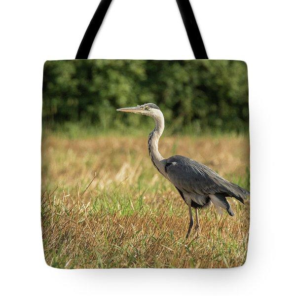 Heron In The Field Tote Bag