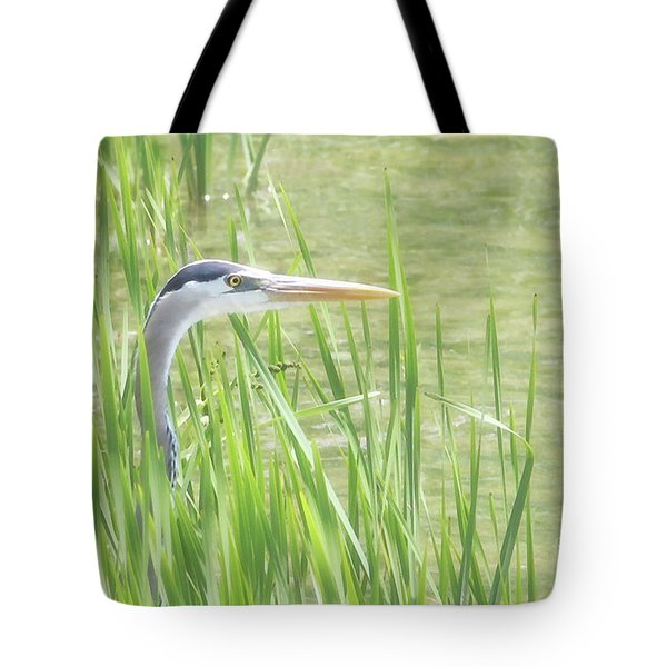 Heron In The Reeds Tote Bag by Anita Oakley