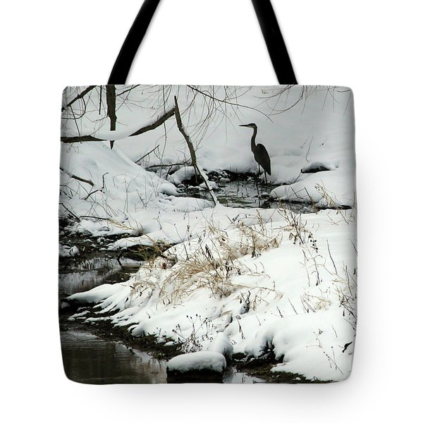 Heron In Winter Tote Bag