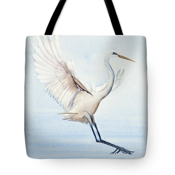 Heron Landing Watercolor Tote Bag