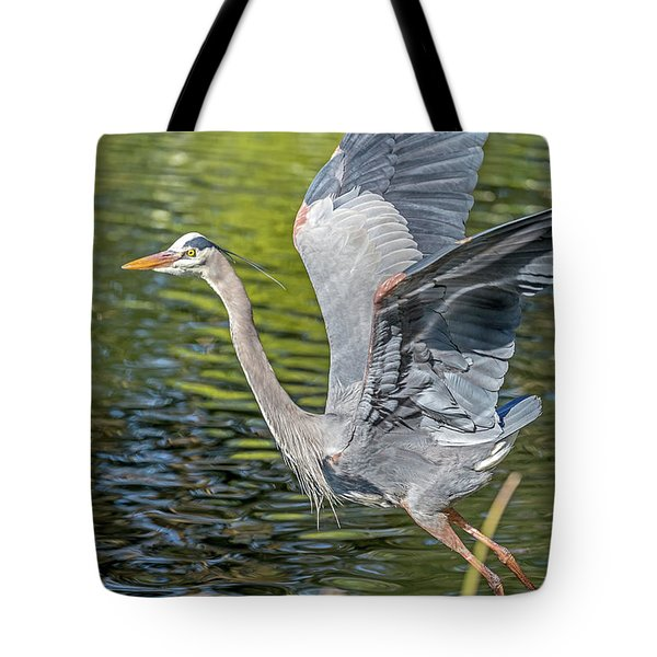 Tote Bag featuring the photograph Heron Liftoff by Kate Brown