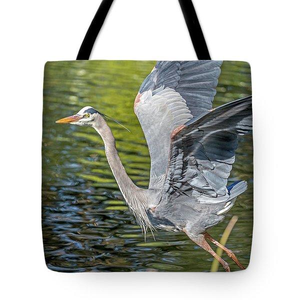 Heron Liftoff Tote Bag
