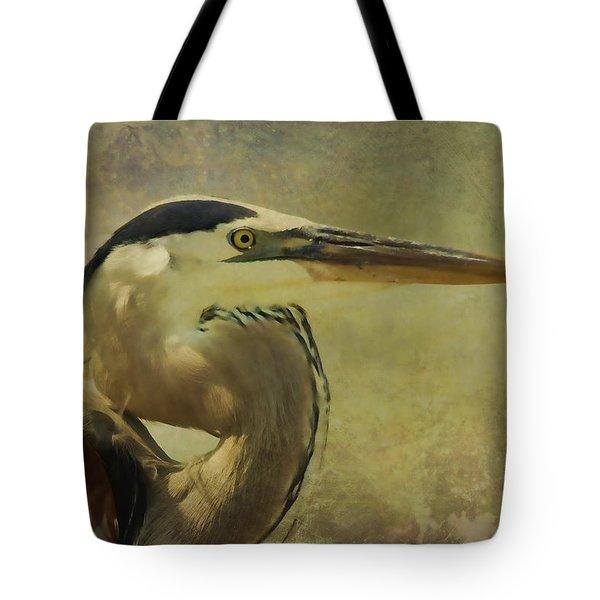 Heron On Texture Tote Bag by Deborah Benoit