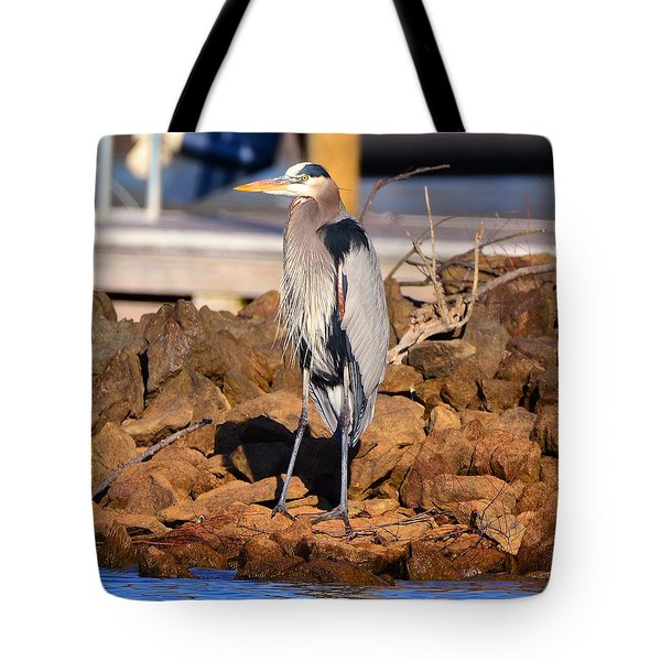Heron On The Rocks Tote Bag