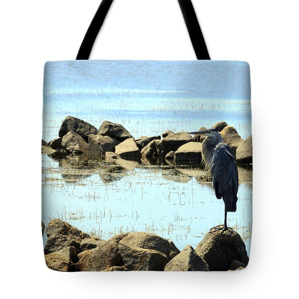 Heron On The Rocks Tote Bag
