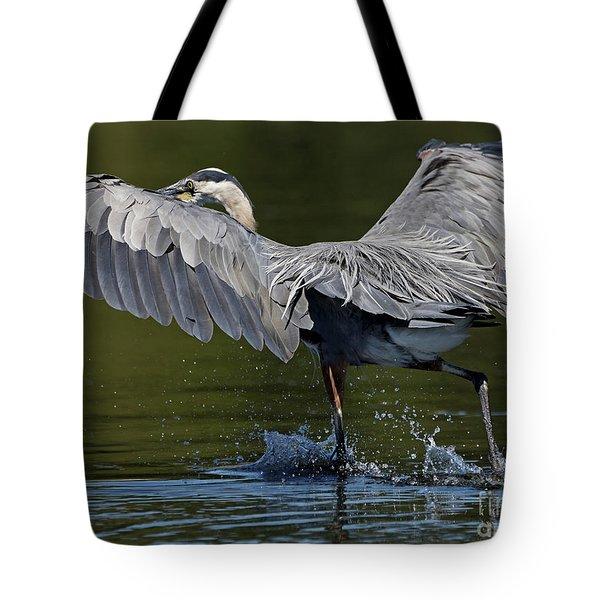 Heron On The Run Tote Bag