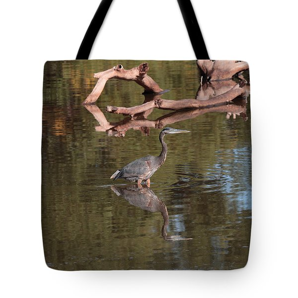 Heron Reflection Tote Bag