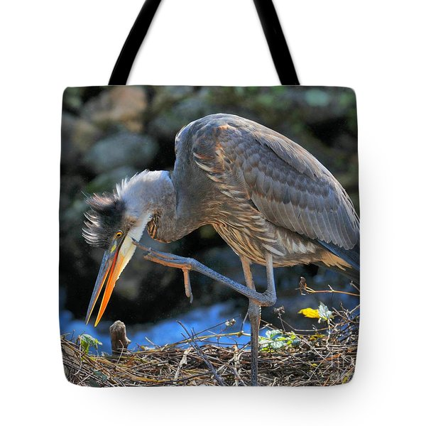 Tote Bag featuring the photograph Heron Scratch by Debbie Stahre