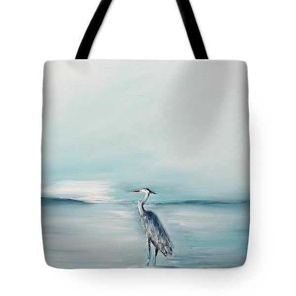 Tote Bag featuring the painting Heron Silence by Miroslaw  Chelchowski