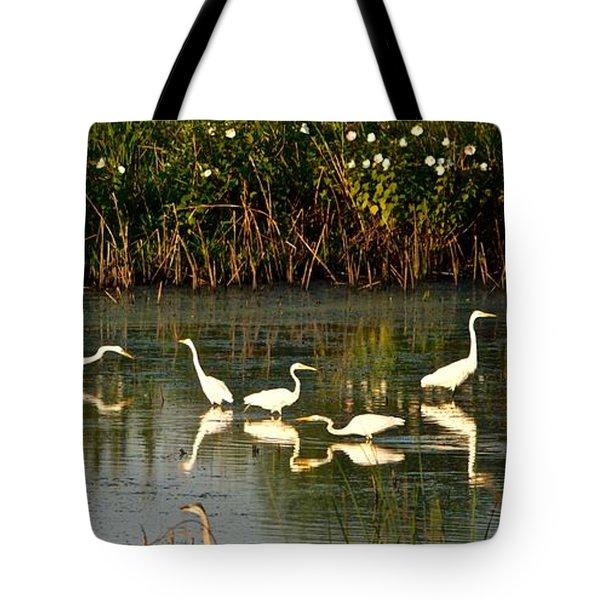 Heron Sunrise Tote Bag by Rita Mueller