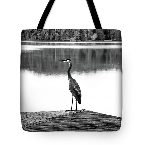 Tote Bag featuring the digital art Heron The Dock Of The Bay by Kathleen Illes