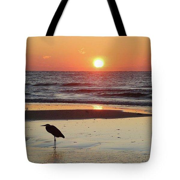 Heron Watching Sunrise Tote Bag by Michael Thomas