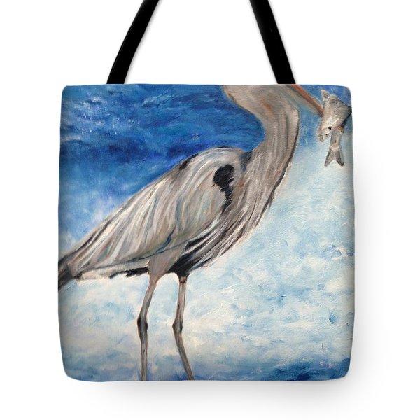 Heron With Fish Tote Bag