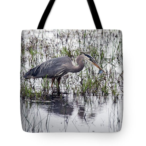 Heron With Fish Tote Bag