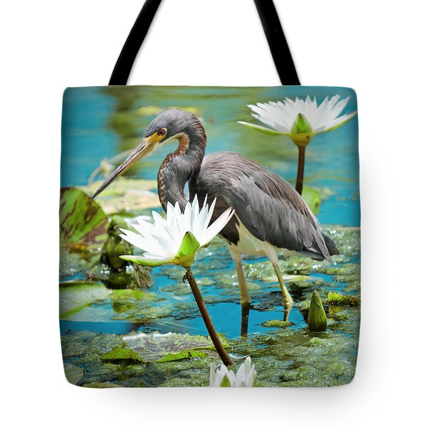 Heron With Water Lillies Tote Bag