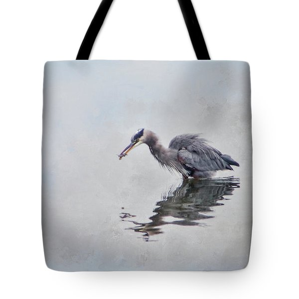 Heron Fishing  - Textured Tote Bag