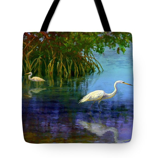 Herons In Mangroves Tote Bag
