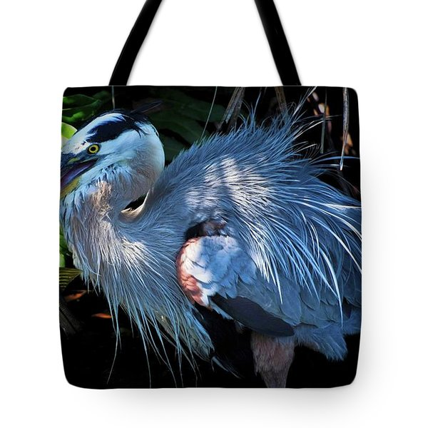 Heron's Lunch Tote Bag by Pamela Blizzard
