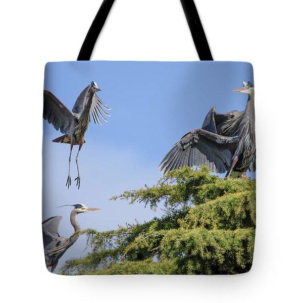 Herons Mating Dance Tote Bag