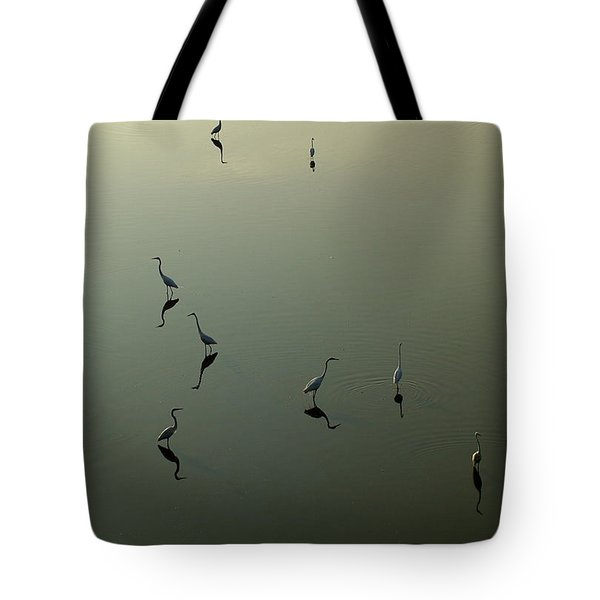 Herons On Lake 367 Tote Bag