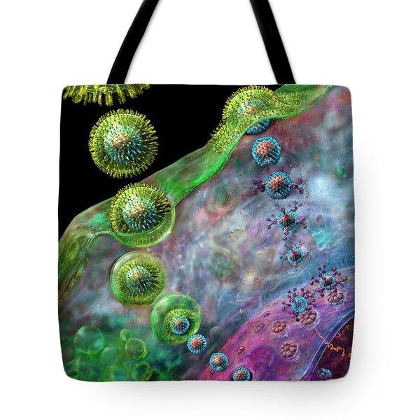 Herpes Virus Replication Tote Bag by Russell Kightley