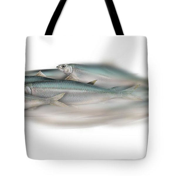 Herring School Of Fish - Clupea - Nautical Art - Seafood Art - Marine Art - Game Fish Tote Bag