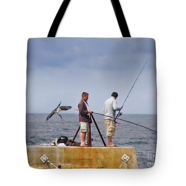 He's Behind You Tote Bag by Terri Waters