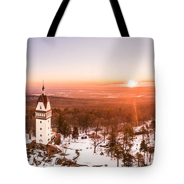 Heublein Tower In Simsbury Connecticut, Winter Sunrise Panorama Tote Bag by Petr Hejl