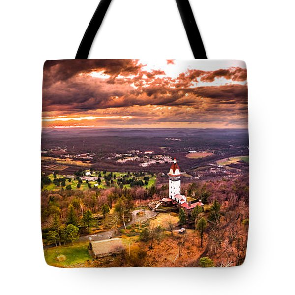 Heublein Tower, Simsbury Connecticut, Cloudy Sunset Tote Bag by Petr Hejl