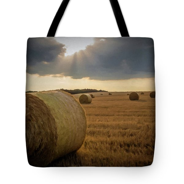 Hey Bales And Sun Rays Tote Bag by David Dehner