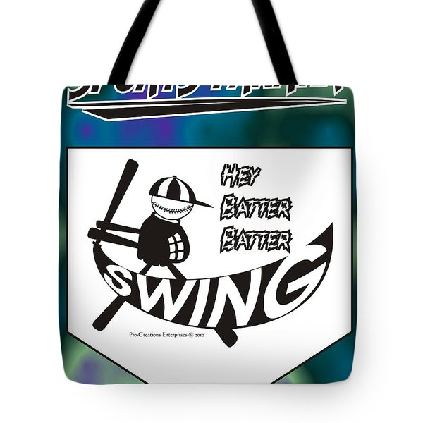 Hey Batter Batter Swing Tote Bag by Maria Watt