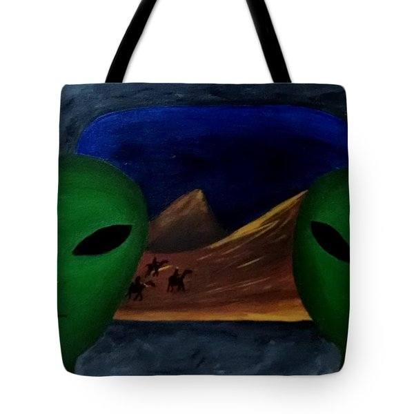Tote Bag featuring the painting Hey Bob, I Think They Are Following Us.. by Lola Connelly