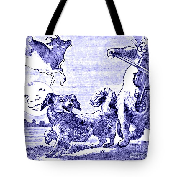 Hey Diddle Diddle The Cat And The Fiddle Nursery Rhyme Tote Bag by Marian Cates