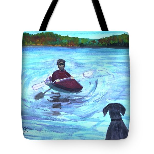 Tote Bag featuring the painting Hey Where You Going  by Donna Walsh